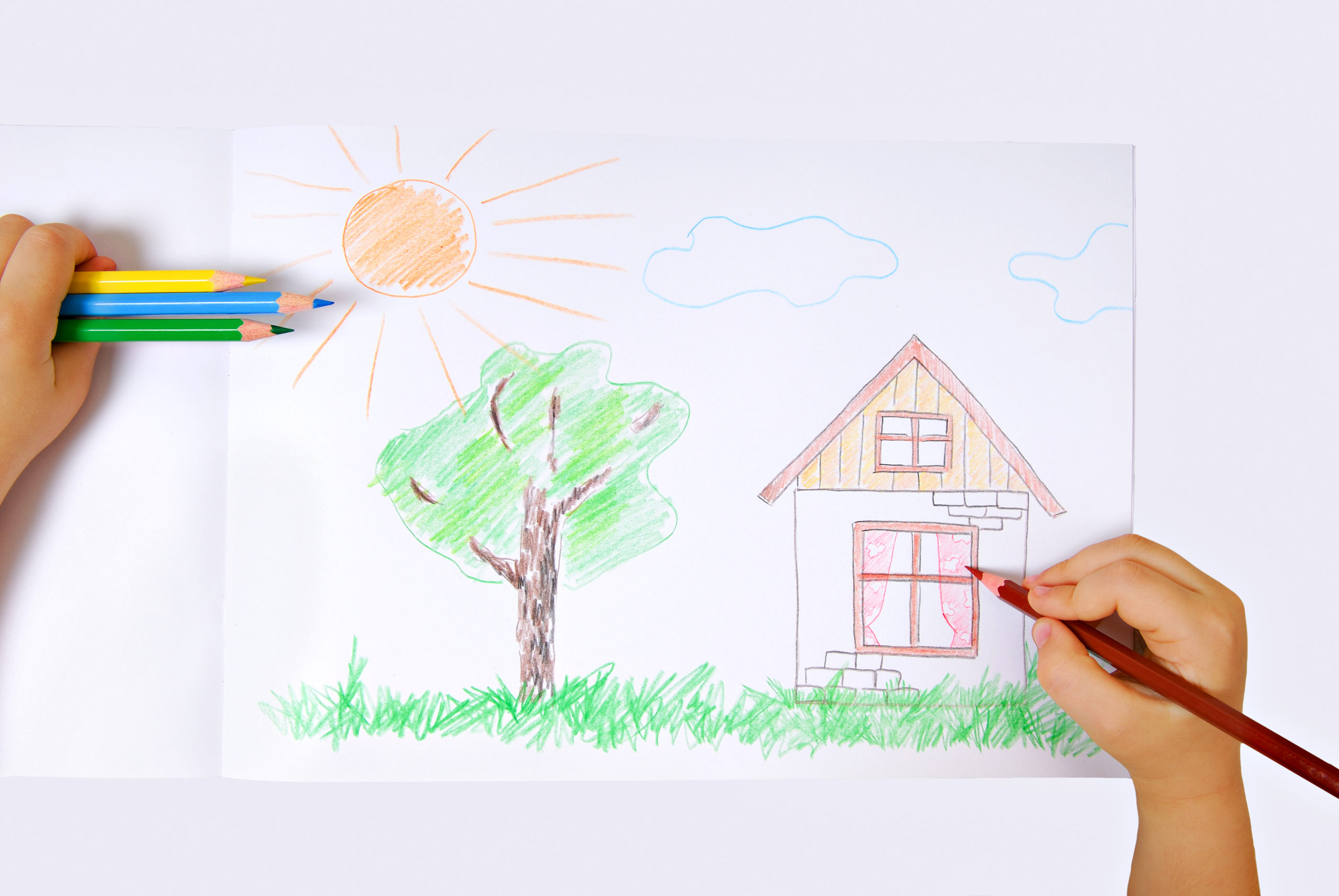 Children's colored illustration of the happiness life